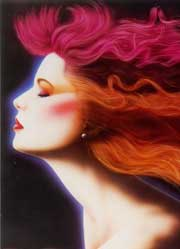 graphic illustration of woman with flowing coloured hair
