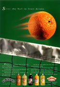 Ad for Robinson's with an orange in motion over tennis net